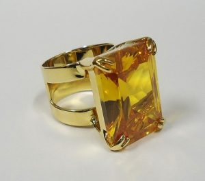 November Birthstone Color Topaz set in a gold ring