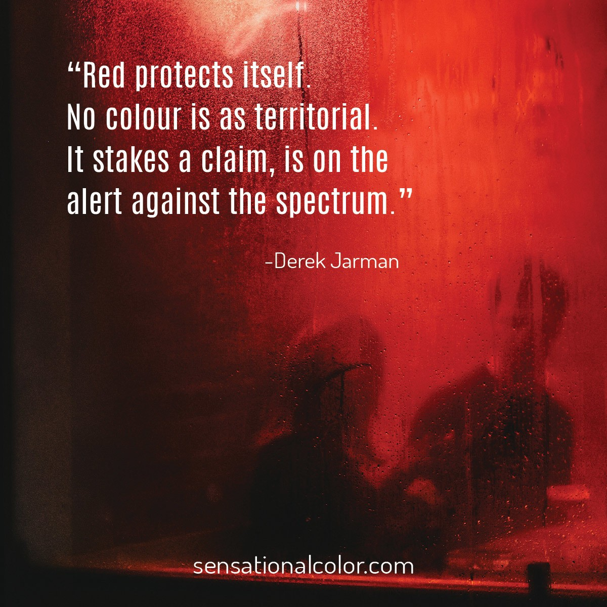 """Red protects itself. No colour is as territorial. It stakes a claim, is on the alert against the spectrum."" - Michael Derek Elworthy"