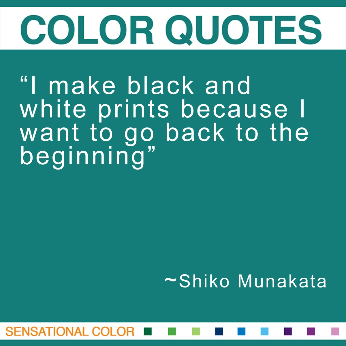 """I make black and white prints because I want to go back to the beginning."" - Shiko Munakata"