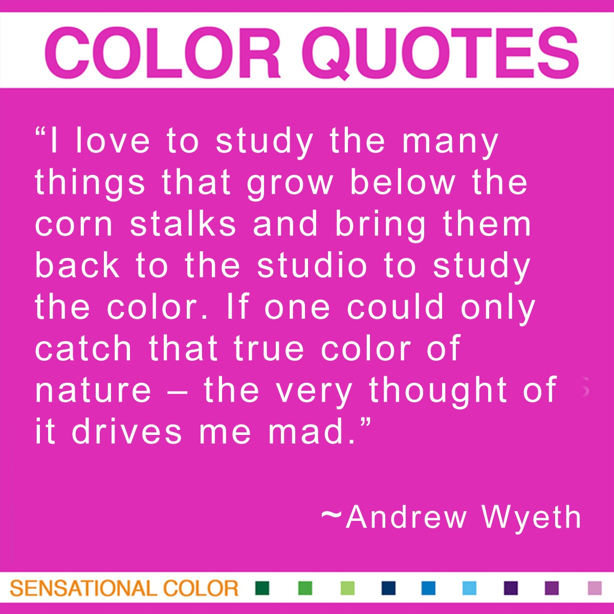 """I love to study the many things that grow below the corn stalks and bring them back to the studio to study the color. If one could only catch that true color of nature – the very thought of it drives me mad."" - Andrew Wyeth"