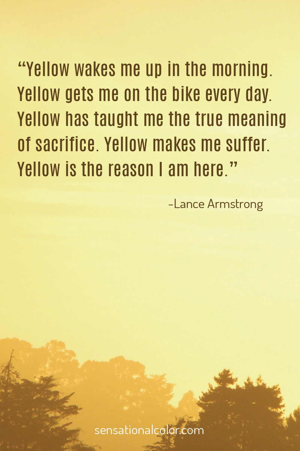 """Yellow wakes me up in the morning. Yellow gets me on the bike every day. Yellow has taught me the true meaning of sacrifice. Yellow makes me suffer. Yellow is the reason I am here."" - Lance Armstrong"