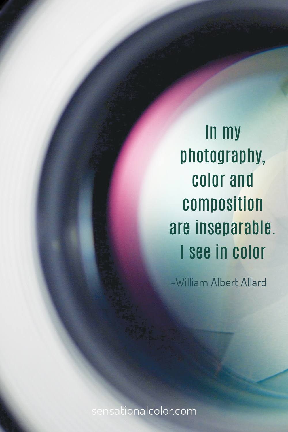 """In my photography, color and composition are inseparable. I see in color.""-William Albert Allard"